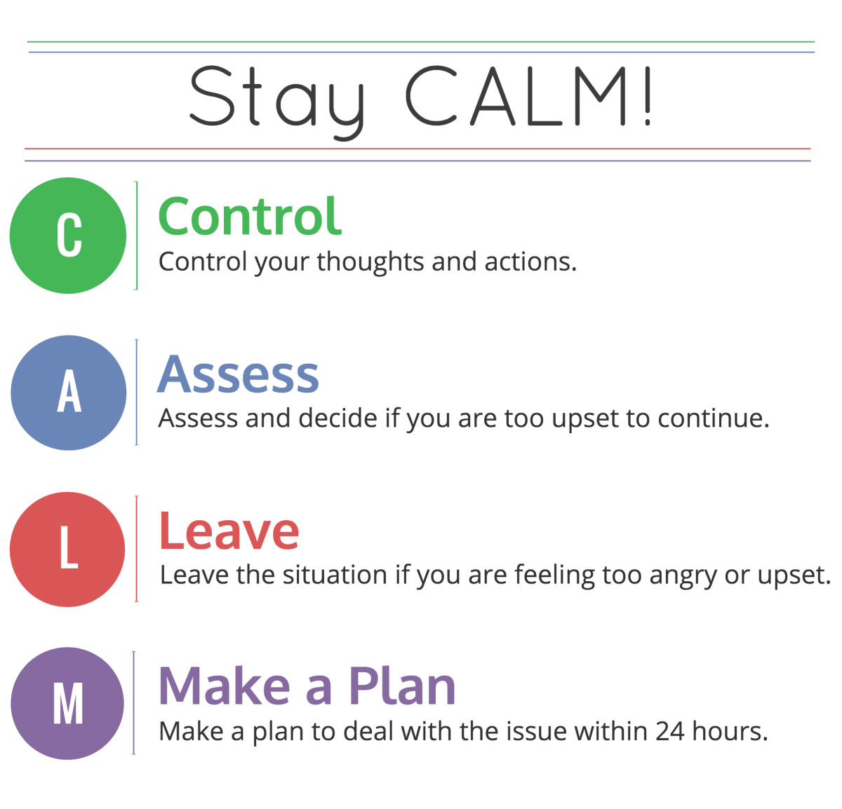 Stay Calm To Aid Communication: Control your thoughts and actions. Assess and decide if you are too upset to continue. Leave the situation if you are feeling too angry or upset. Make a plan to deal with the situation within 24 hours.